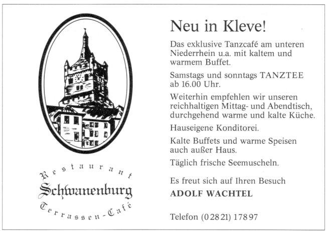 Neu in Kleve! Tanztee im Restaurant Schwanenburg