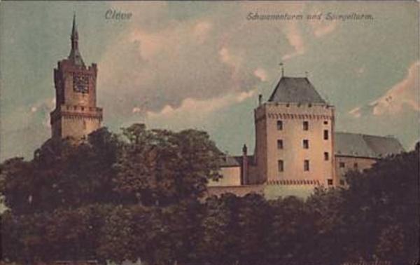Alte Ansicht: Schwanenburg mit Spiegelturm