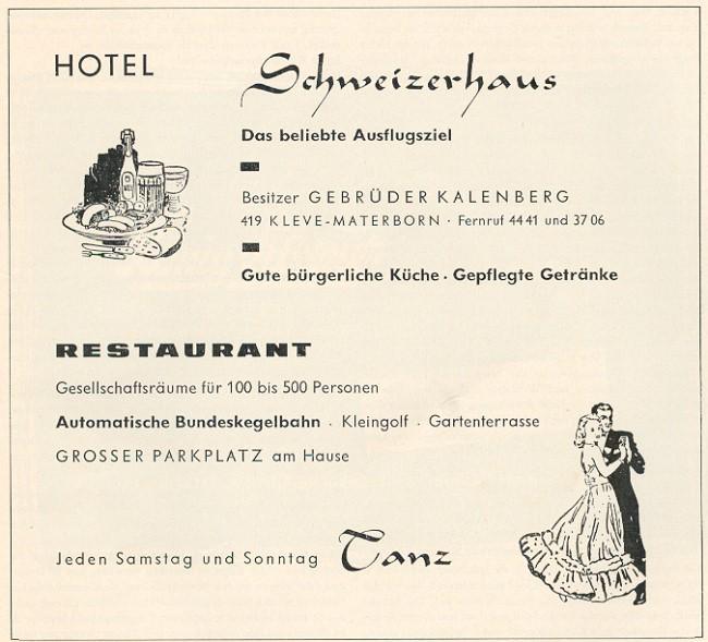Kleine Erinnerung: Das Schweizerhaus in Kleve in den Sechzigern
