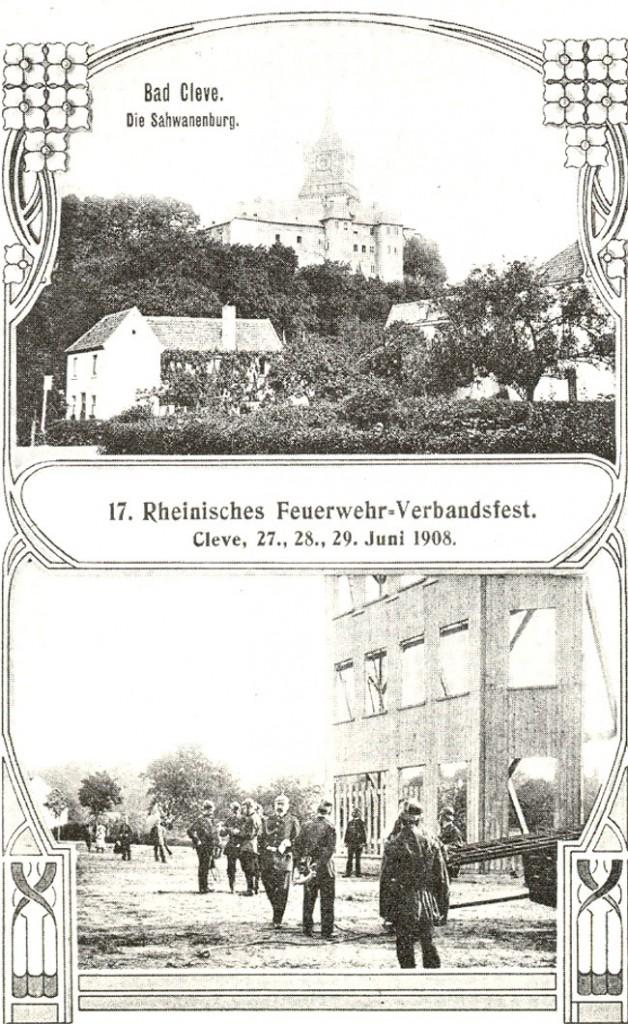 Laut + überfüllt: Rheinisches Feuerwehr-Verbandsfest 1908 in Bad Cleve