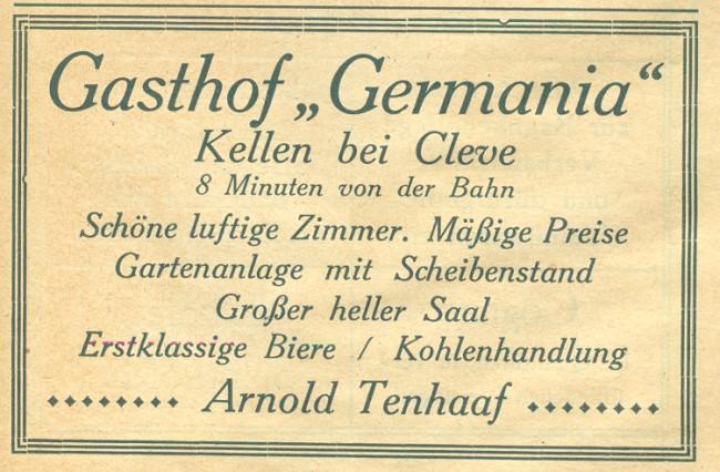 Kanntest Du noch den Gasthof Germania von Tenhaaf in Kellen?