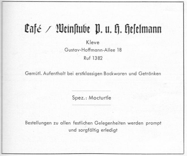 Kennst Du das Mockturtle im Cafe' Heselmann in Kleve