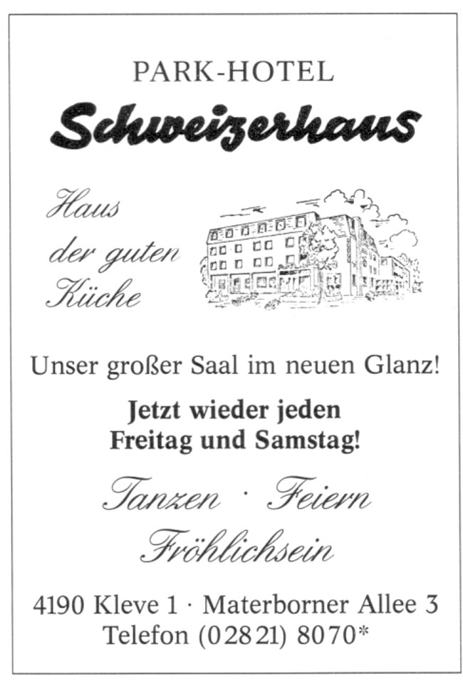 Park-Hotel Schweizerhaus - Jetzt wieder jeden Freitag und Samstag!