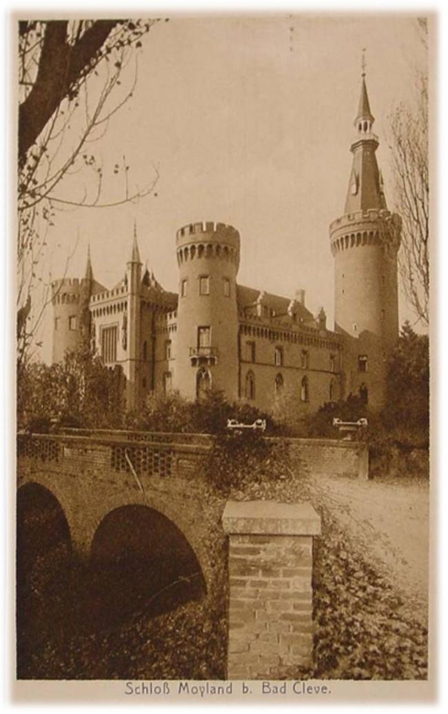 Het grote kasteel Moyland bij Bad Cleve