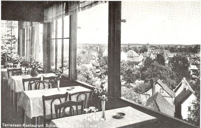 Een klassieker: het terrasrestaurant Schwanenburg in Bad Cleve