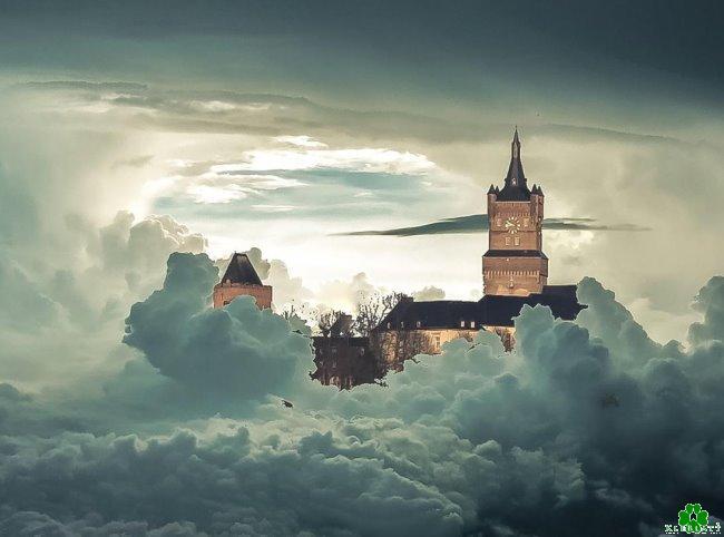 Een fantasie: het kasteel van Kleef in de lucht