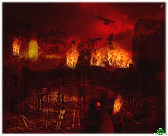 Lodernde Flammen bei Brand in Schloss Moyland